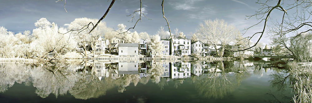 An infrared panorama of the homes of Clinton New Jersey from an unusual vantage point on the north side of the Raritan River.