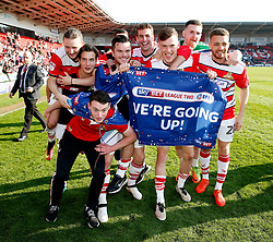 Free to use courtesy of SkyBet - Doncaster Rovers players celebrate after achieving promotion - Mandatory by-line: Matt McNulty/JMP - 08/04/2017 - FOOTBALL - The Keepmoat Stadium - Doncaster, England - Doncaster Rovers v Mansfield Town - Sky Bet League Two