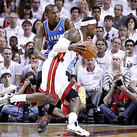19 June 2012: Miami Heat small forward LeBron James (6) drives past Oklahoma City Thunder small forward Kevin Durant (35) during the Miami Heat 104-98 victory over the Oklahoma City Thunder, in Game 4 of the 2012 NBA Finals, at the AmericanAirlinesArena, Miami, Florida, USA.