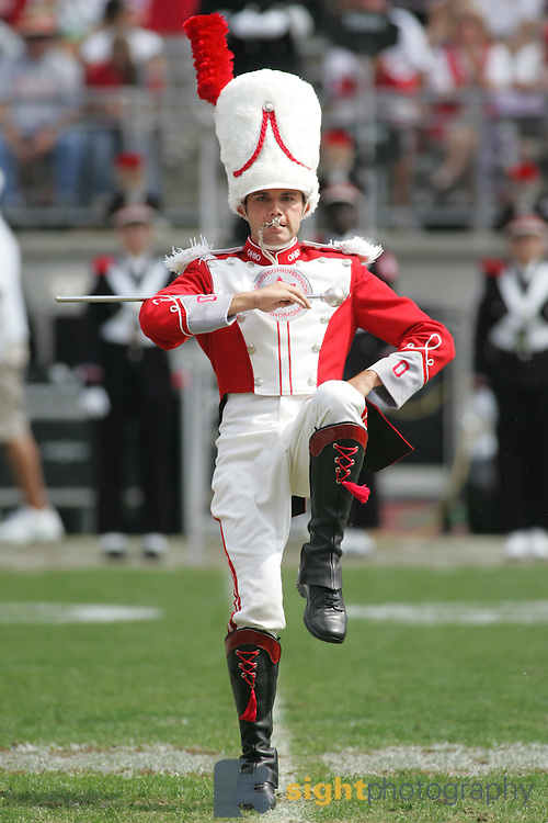 Freshman Drum Major, Stew Kitchen, performs during the Ohio State vs. Cincinnati football game.