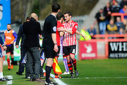 Exeter City's Matt Oakley is substituted early in the first half  during the Sky Bet League 2 match between Exeter City and Plymouth Argyle at St James' Park, Exeter, England on 2 April 2016. Photo by Graham Hunt.