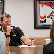 JUNE 15, 2017--SUNRISE, FLORIDA<br /> Shawn Thornton, a former Boston Bruins player known as the team's enforcer, is now the Florida Panthers VP for business operations. Here in an early morning meeting with staffers from the communications and digital media department.<br /> (Photo by Angel Valentin/Freelance)