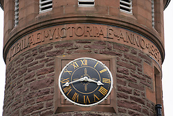 Detail of clocktower at Torridon Hotel on  the North Coast 500 scenic driving route in northern Scotland, UK