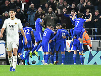Football - 2018 / 2019 Premier League - Cardiff City vs. Wolverhampton Wanderers<br /> <br /> Aron Gunnarsson Cardiff City celebrates scoring his team's first goal, at Cardiff City Stadium.<br /> <br /> COLORSPORT/WINSTON BYNORTH