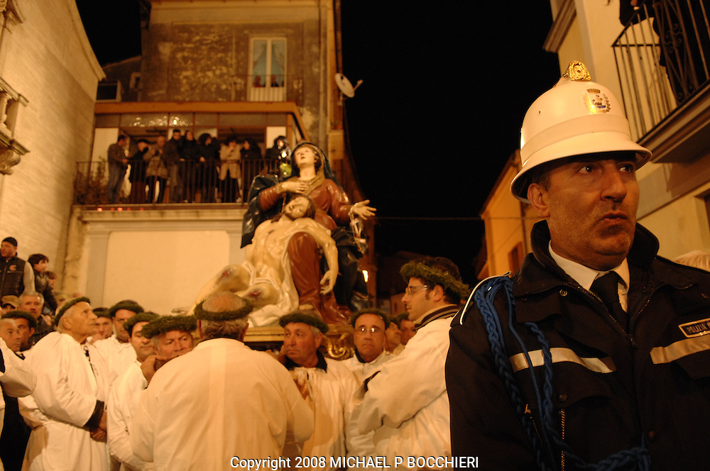 Nocera Tirinese, Calabria - MARCH 21: General views of the town days before the Rito Dei Battienti (rite of the beaters) March 21, 2008 in Nocera Tirinese, Calabria, Italy. A yearly Easter ritual dating back to the mid-13th century the Processione della Addolorata (procession of the Golden Madonna) and Rito dei Battienti (rite of the beaters) includes devote Catholics that flagellant themselves in the streets and jog the route of the Easter procession, enduring the pain and suffering of religious sacrifice in the name of spiritual cleansing. (Photo by Michael Bocchieri/Bocchieri Archive)