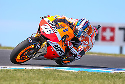 © Licensed to London News Pictures. 19/10/2012. Dani Pedrosa (SPA) riding for the Repsol Honda Team  during the Qualifying day of the round 16 2013 Tissot Australian Moto GP at the  Phillip Island Grand Prix Circuit Victoria, Australia. Photo credit : Asanka Brendon Ratnayake/LNP