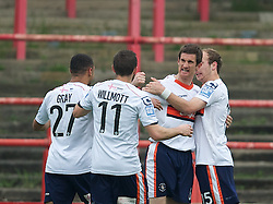 WREXHAM, WALES - Monday, May 7, 2012: Luton Town's George Pilkington celebrates scoring the first goal against Wrexham from the penalty spot during the Football Conference Premier Division Promotion Play-Off 2nd Leg at the Racecourse Ground. (Pic by David Rawcliffe/Propaganda)