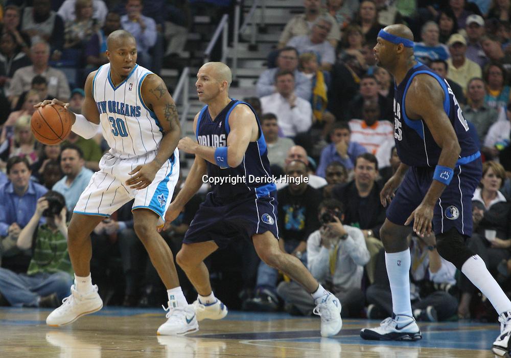 05 March 2009: New Orleans Hornets forward David West (30) is guarded by Dallas Mavericks guard Jason Kidd (2) during a 104-88 win by the New Orleans Hornets over the Dallas Mavericks at the New Orleans Arena in New Orleans, Louisiana.