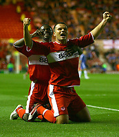 Photo: Andrew Unwin.<br /> Middlesbrough v Chelsea. The Barclays Premiership. 23/08/2006.<br /> Middlesbrough's Mark Viduka (R) celebrates his winning goal.