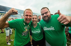 Fans of Olimpija celebrate after they became Slovenian National Champion 2018 after the football match between NK Domzale and NK Olimpija Ljubljana in 36th Round of Prva liga Telekom Slovenije 2017/18, on May 27, 2018 in Sports park Domzale, Domzale, Slovenia. Photo by Vid Ponikvar / Sportida