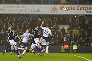 Millwall forward Lee Gregory (9)  heads at goal and scores  during the The FA Cup fourth round match between Millwall and Everton at The Den, London, England on 26 January 2019.