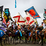 "MINAMISOMA, JAPAN - JULY 24 : A samurai horsemen fight for the sacred flag as they compete in the Shinki-soudatsusen (sacred flag competition) during the Soma Nomaoi festival at Hibarigahara field on Sunday, July 24, 2016 in Minamisoma, Japan. ""Soma-Nomaoi"" is a traditional festival that recreates a samurai battle scene from more than 1,000 years ago.  (Photo: Richard Atrero de Guzman/NURPhoto)"