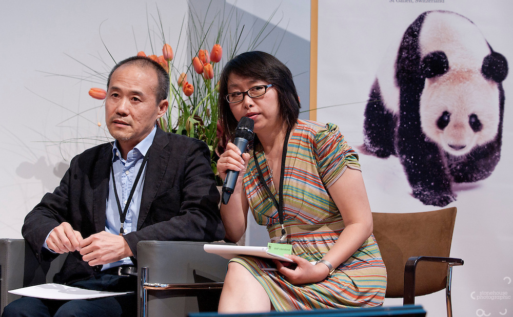 Wang Shi chairman of China Vanke speaks at the Opening Conference Symposium panel discussion facilitated by Veronica Pedrosa (Al-Jazeera, Malaysia) Speakers left to right Paul Polman CEO Unilever, Tim Brown CEO of IDEO, Bethlehem Tilahun Alemu Founder and Managing Director of Sole Traders, Orazio Bellittini Cedeno co-founder & Director of Grupo Faro and Wang Shi chairman of China Vanke at the WWF Annual Conference, St Gallen, Switzerland