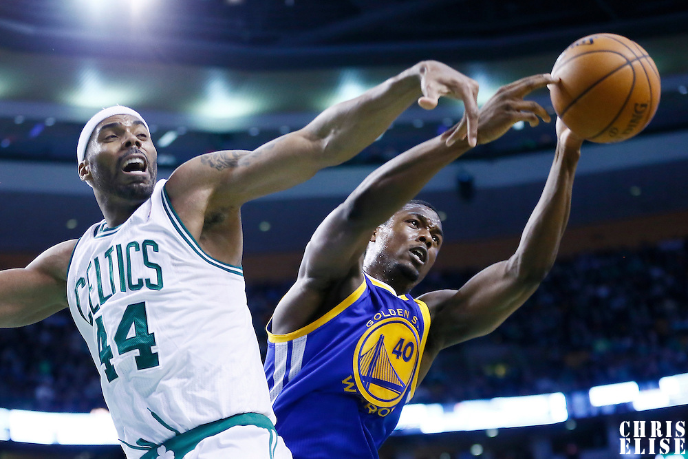 01 March 2013: Golden State Warriors small forward Harrison Barnes (40) vies for the loose ball with Boston Celtics power forward Chris Wilcox (44) during the Boston Celtics 94-86 victory over the Golden State Warriors at the TD Garden, Boston, Massachusetts, USA.