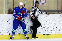 Mark Cepon of Slovenia and linesman Robert Bohinc during friendly ice hockey match between Slovenia and Croatia, on April 12, 2016 in Ledena dvorana, Bled, Slovenia. Photo By Matic Klansek Velej / Sportida
