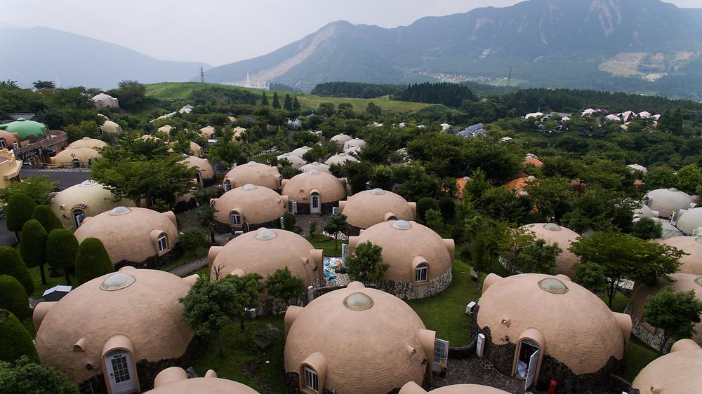 KUMAMOTO, JAPAN - JULY 31: Aerial view of Quake-proof dome houses in Aso Farm Land, Kumamoto prefecture, Japan, July 31, 2017. (Photo: Richard Atrero de Guzman/AFLO)