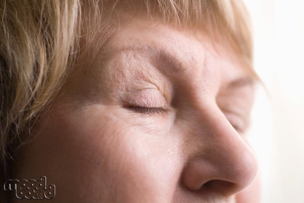 Mature woman skin around eyes