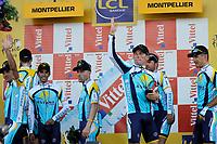 Sykkel<br /> Tour de France<br /> Foto: DPPI/Digitalsport<br /> NORWAY ONLY<br /> <br /> CYCLING - TOUR DE FRANCE 2009 - MONTPELLIER (FRA) - 07/07/2009 <br /> <br /> STAGE 4 - TEAM TIME TRIAL - MONTPELLIER > MONTPELLIER - TEAM ASTANA / WINNER - LANCE ARMSTRONG (USA)