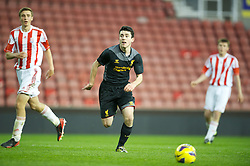 STOKE-ON-TRENT, ENGLAND - Wednesday, May 1, 2013: Liverpool's Louis Robles in action against Stoke City during the Premier League Academy match at the Britannia Stadium. (Pic by David Rawcliffe/Propaganda)