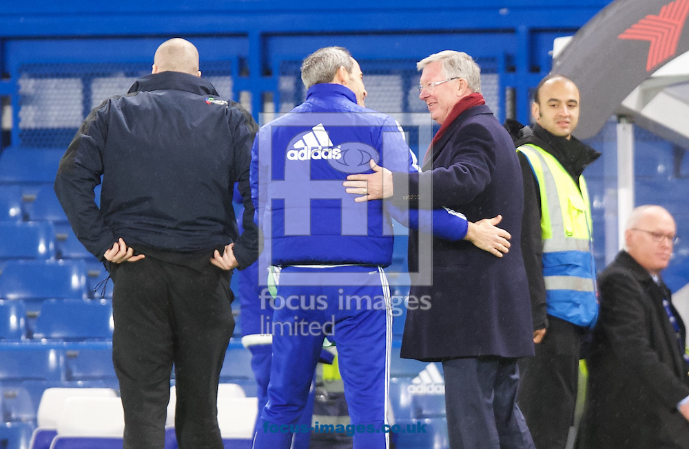 Sir Alex Ferguson (right)  speaks to a Chelsea staff member before leaving the ground after the Barclays Premier League match at Stamford Bridge, London<br /> Picture by Alan Stanford/Focus Images Ltd +44 7915 056117<br /> 07/02/2016