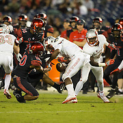 08 October 2016: The San Diego State Aztecs football team open's up the mountain west conference season at home against the University of Nevada Las Vegas Rebels. San Diego State safety Jeff Clay knocks the ball loose on a kick off return in the fourth quarter. The Aztecs beat the Rebels 26-7 to improve to 4-1 and 1-0 in conference play. www.sdsuaztecphotos.com