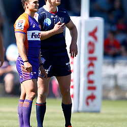 Referee:AJ Jacobs (SA) with Dane Haylett-Petty (captain) of the Melbourne Rebels during the super rugby match between the Melbourne Rebels and the Cell C Sharks at the  Mars Stadium,Ballarat,Western suburbs of Melbourne,Victoria, Australia, 22,020,2020 (Photo Steve Haag /HollywoodBets)