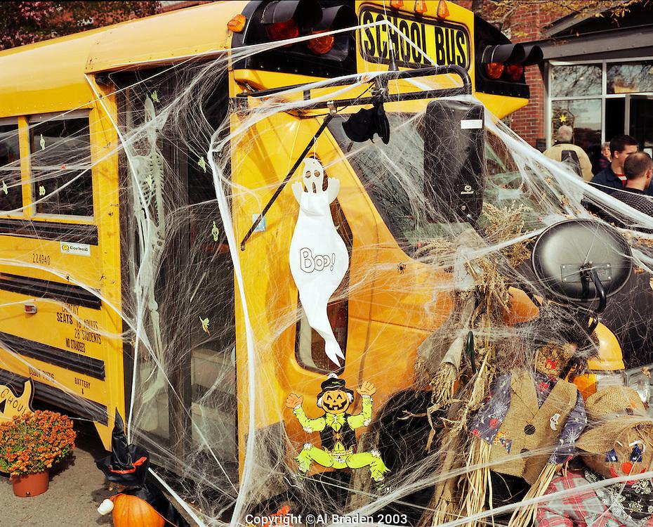 School bus on Main Street, Keene Pumpkin Festival
