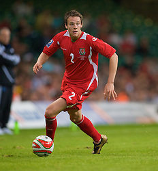 CARDIFF, WALES - Saturday, October 11, 2008: Wales' Chris Gunter in action against Liechtenstein during the 2010 FIFA World Cup South Africa Qualifying Group 4 match at the Millennium Stadium. (Photo by David Rawcliffe/Propaganda)