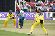 Wareham bowling to Natalie Sciver during the Royal London Women's One Day International match between England Women Cricket and Australia at the Fischer County Ground, Grace Road, Leicester, United Kingdom on 2 July 2019.
