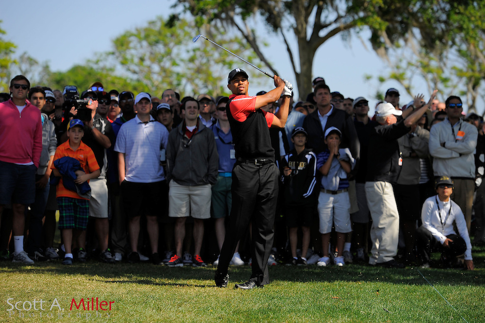 Tiger Woods during rain-delayed final round play in the Arnold Palmer Invitational PGA golf tournament in Orlando, Florida March 25, 2013. Woods won the tournament...©2013 Scott A. Miller