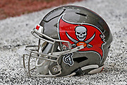 Detailed view of a Tampa Bay Buccaneers helmet ahead of an NFL International Series game against the Carolina Panthers at Tottenham Hotspur Stadium, Sunday, Oct. 13, 2019, in London.  The Panthers defeated the Buccaneers 37-26. (Gareth Williams/Image of Sport)