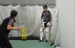 Somerset's Adam Hose looks on as he is coached by Steve Snell. - Mandatory byline: Alex Davidson/JMP - 25/02/2016 - CRICKET - The Cooper Associates County Ground -Taunton,England - Somerset CCC  Media access - Pre-Season