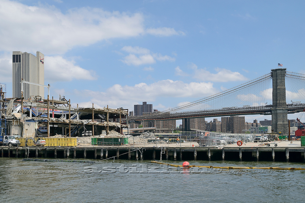 "Demolition of ""Pier 17"" at South Street Seaport in Lower Manhattan, New York."
