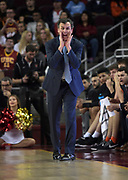 Dec 19, 2017; Los Angeles, CA, USA; Princeton Tigers head coach Mitch Henderson reacts during an NCAA basketball game against the Southern California Trojans at Galen Center. Princeton defeated USC 103-93 in overtime.