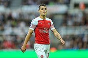 Granit Xhaka (#34) of Arsenal during the Premier League match between Newcastle United and Arsenal at St. James's Park, Newcastle, England on 15 September 2018.