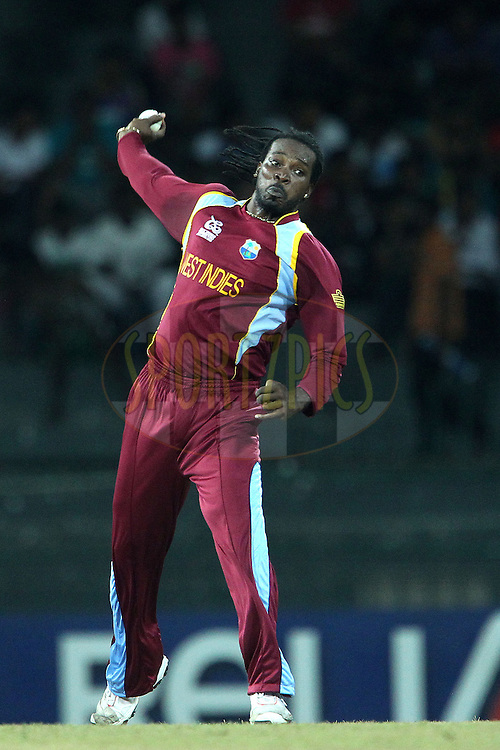 Chris Gayle of The West Indies during the ICC World Twenty20 Group B pool match between Ireland and The West Indies held at the Premadasa Stadium in Colombo, Sri Lanka on the 24th September 2012..Photo by Ron Gaunt/SPORTZPICS/INPHO