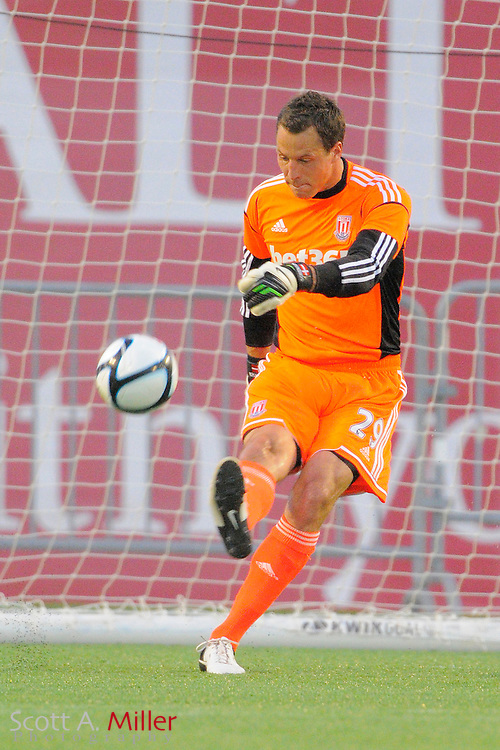 Stoke City Potters goalkeeper Thomas Sørensen (29) in action against the Orlando City Lions at the Florida Citrus Bowl on July 28, 2012 in Orlando, Florida. Stoke won 1-0...© 2012 Scott A. Miller.