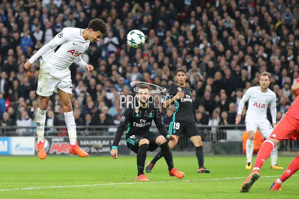 Tottenham Hostpur midfielder Deli Alli (20) missing header for hat trick during the Champions League match between Tottenham Hotspur and Real Madrid at Wembley Stadium, London, England on 1 November 2017. Photo by Matthew Redman.