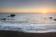 Sunset view from rugged cliffs and bluffs of Sonoma Coast State Park, California