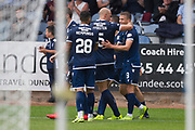 10th August 2019; Dens Park, Dundee, Scotland; SPFL Championship football, Dundee FC versus Ayr; Andrew Nelson of Dundee is congratulated after scoring for 1-0 in the 73rd minute by Jordon Forster