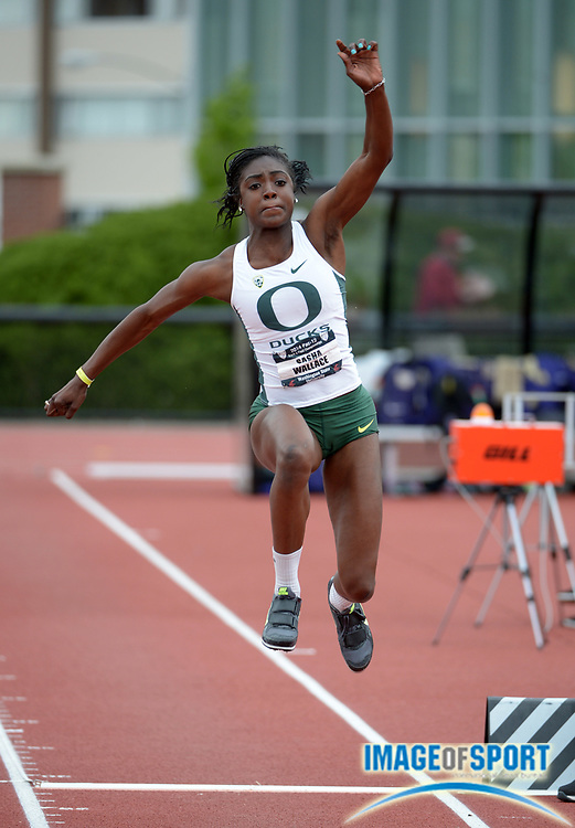 May 18, 2014; Pullman, WA, USA; Sasha Wallace of Oregon places third in the womens triple jump at 41-6 1/2 (12.66m) in the 2014 Pac-12 Championships at the Mooberry Track & Field Complex.