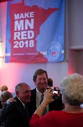 Second District Congressman Jason Lewis poses for a photo with a supporter as the Republican Party of Minnesota holds an election night gathering at the Doubletree by Hilton Hotel in Bloomington, Minn., on Tuesday, November 6, 2018. Photo by Jeff Wheeler/Minneapolis Star Tribune/TNS/ABACAPRESS.COM