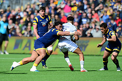 Joe Taufete'e of Worcester Warriors closes down Anthony Watson of Bath Rugby - Mandatory by-line: Dougie Allward/JMP - 15/04/2017 - RUGBY - Sixways Stadium - Worcester, England - Worcester Warriors v Bath Rugby - Aviva Premiership