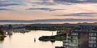 Sunset on a spring day over the Inner Harbour of Victoria, BC