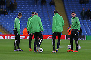 Borussia Monchengladbach warming up during the Champions League match between Manchester City and Borussia Monchengladbach at the Etihad Stadium, Manchester, England on 8 December 2015. Photo by Simon Davies.