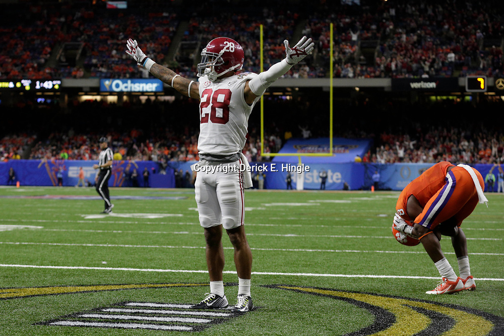Jan 1, 2018; New Orleans, LA, USA; Alabama Crimson Tide defensive back Anthony Averett (28) and Clemson Tigers wide receiver Deon Cain (8) react after a play during the fourth quarter in the 2018 Sugar Bowl college football playoff semifinal game at Mercedes-Benz Superdome. Mandatory Credit: Derick E. Hingle-USA TODAY Sports