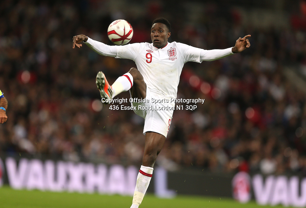 12 October 2012 Football International. England v San Marino.<br /> England striker Danny Welbeck controls the ball.