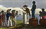 Auctioning slaves in the West Indies after their transportation from West Africa. From Rev. Isaac Taylor 'Scenes in Africa' London 1824. Hand-coloured engraving.