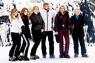 The Dutch Royal family with King Willem-Alexander (C-L) and Queen Maxima (C-R) and their daughters, Crownprincess Amalia and Princesses Ariana and Alexia, pose for the media during their annual photo session ahead of their private winter vacations in Lech, Austria, 25 February 2020.<br /> 25 Feb 2020