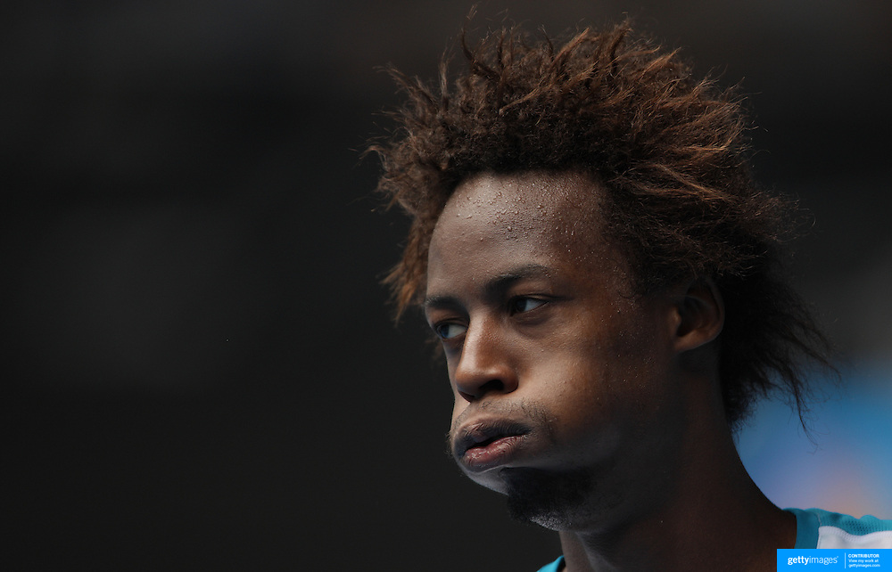 Expressive Gael Monfils of France during his victory over Nicolas Almagro of Spain at the Australian Tennis Open on January 24, 2009 in Melbourne, Australia. Photo Tim Clayton    .